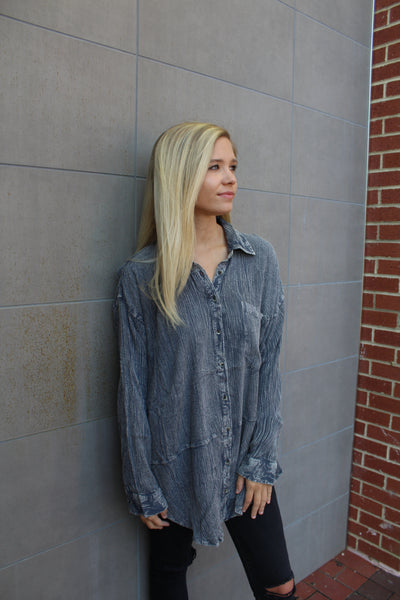 Monroe Gray Button Up by Cashmere and Company