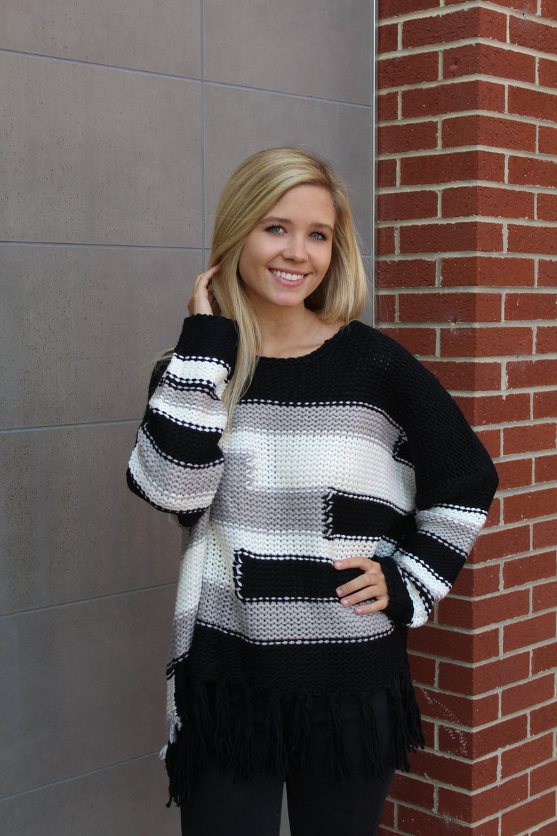 Nikki Color Block Boho Sweater by Cashmere and Company