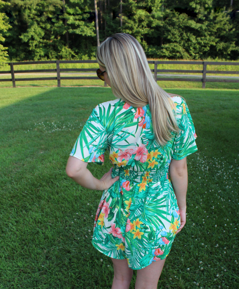 On Island Time Green/Creme Tropical Print Romper by Cashmere and Company