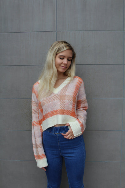 Plaid V Neck Sweater by Cashmere and Company