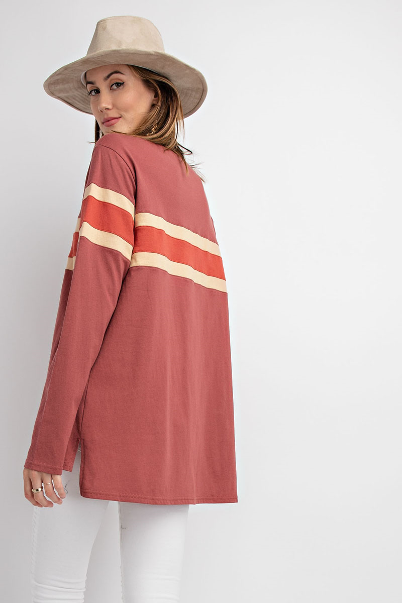Midtown Striped Long Sleeve Top