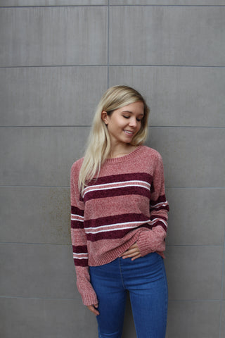 Stripped Mauve Chenille Pullover Sweater by Cashmere and Company