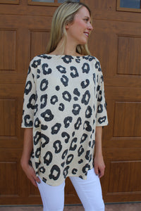 Wild About You Ivory Cheetah Print Top by Cashmere and Company