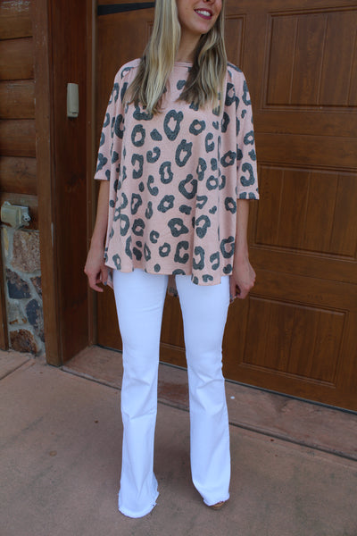 Wild About You Peach Cheetah Print Top by Cashmere and Company