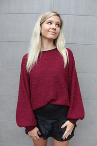 Wine Down Puff Sleeve Sweatshirt by Cashmere and Company