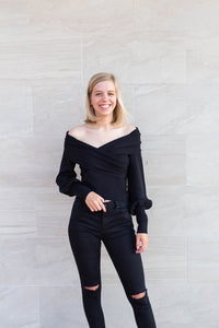 Zara Black Balloon Sleeve Sweater by Cashmere and Company