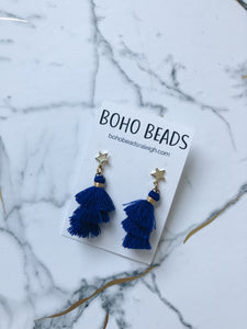 Star Stud Tassel Earrings - Royal Blue