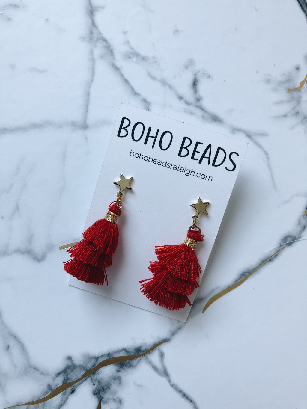 Star Stud Tassel Earrings - Red