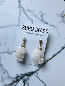 Star Stud Tassel Earrings - Creme