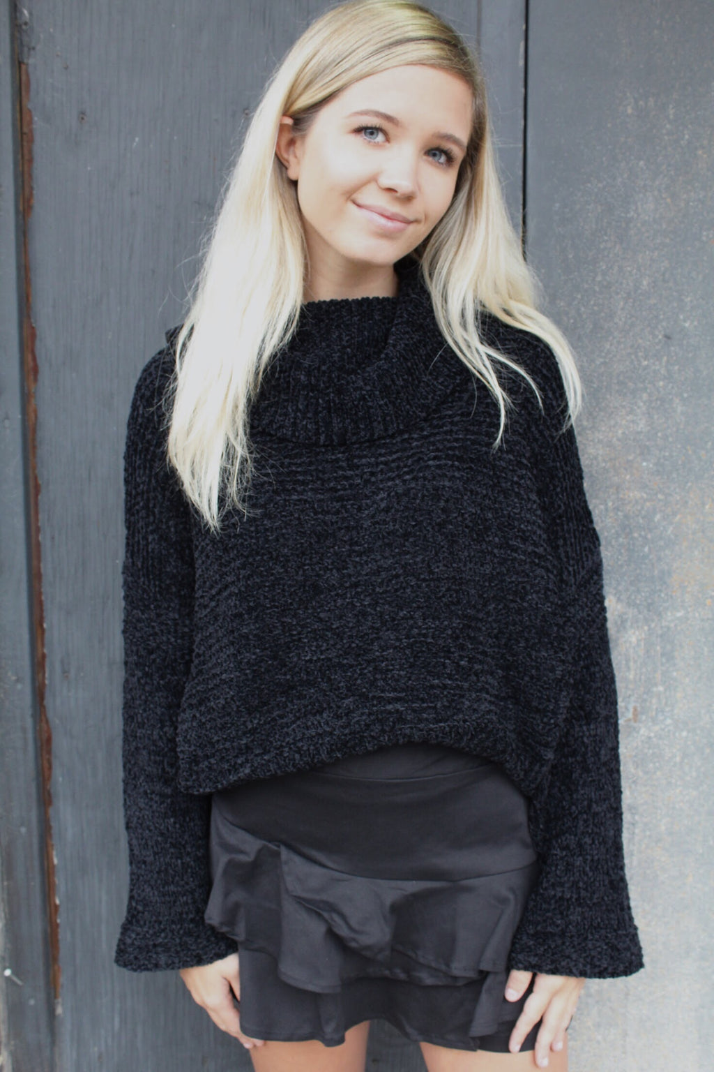 Black Chenille Pullover Sweater by Cashmere and Company
