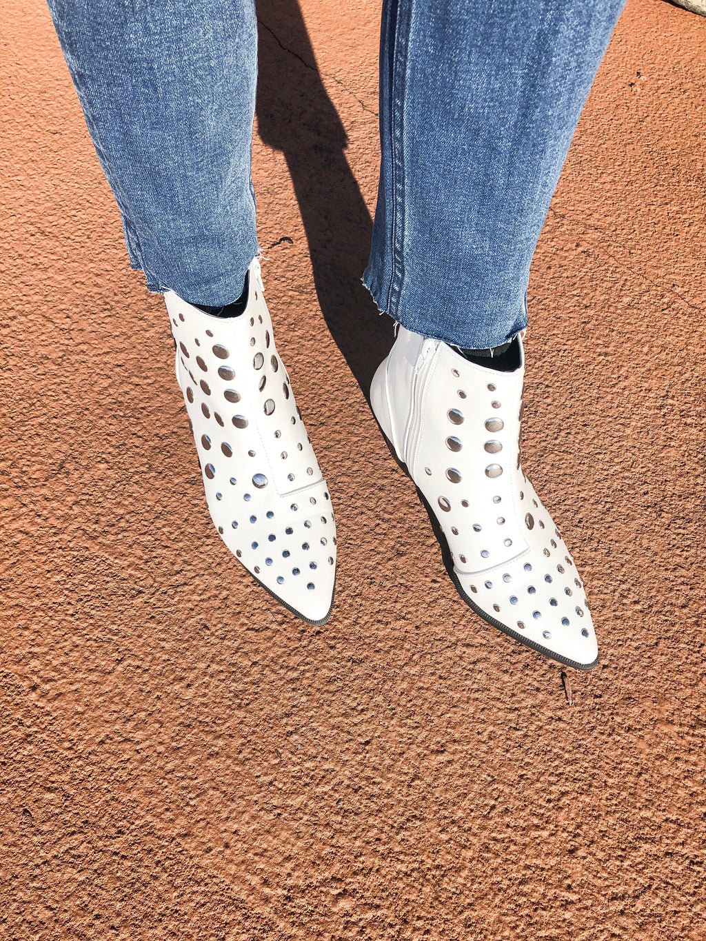 White Studded Bootie