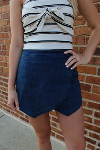 Amelia Denim Skort by Cashmere and Company