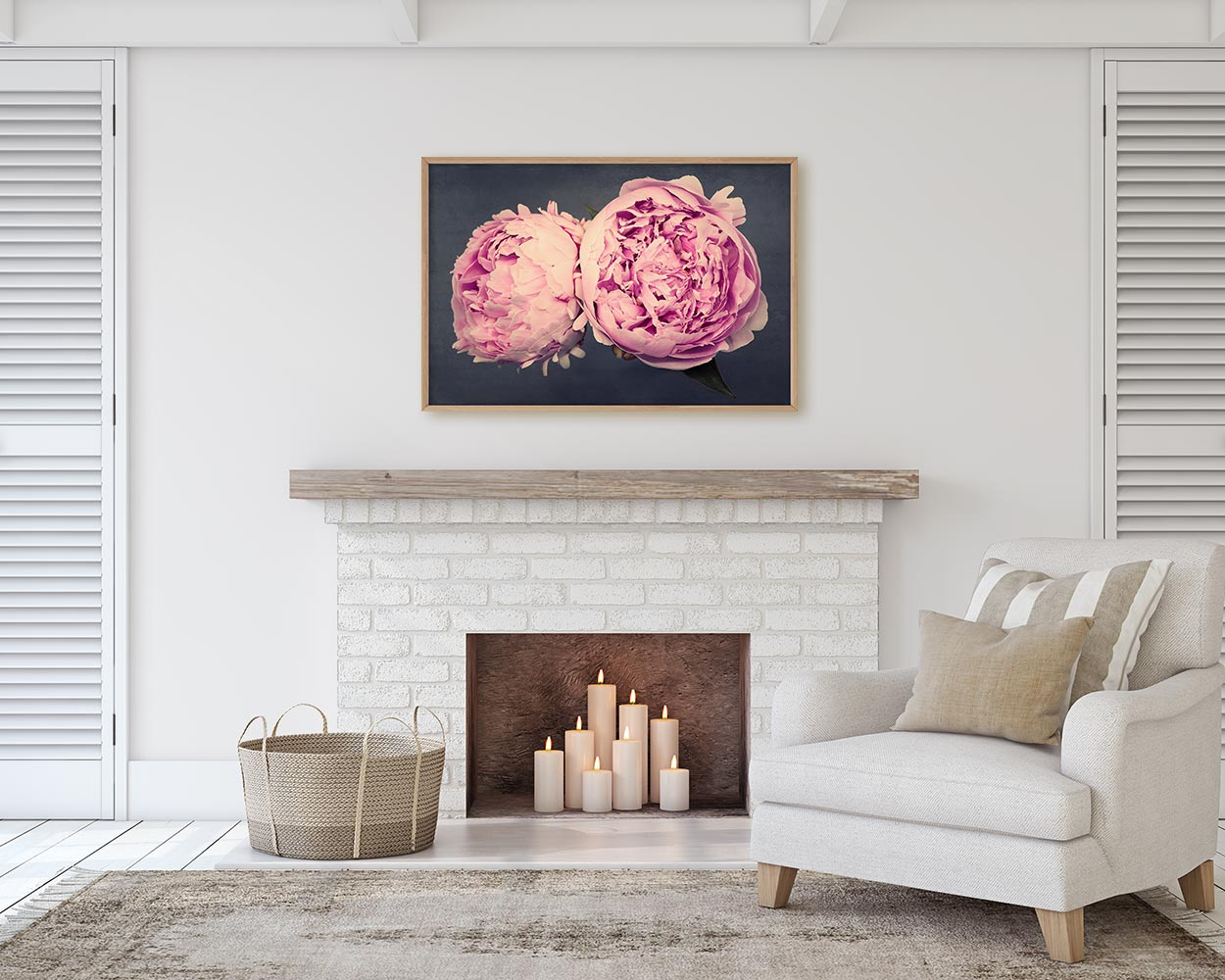 Peony Wall Art Print Above Fireplace