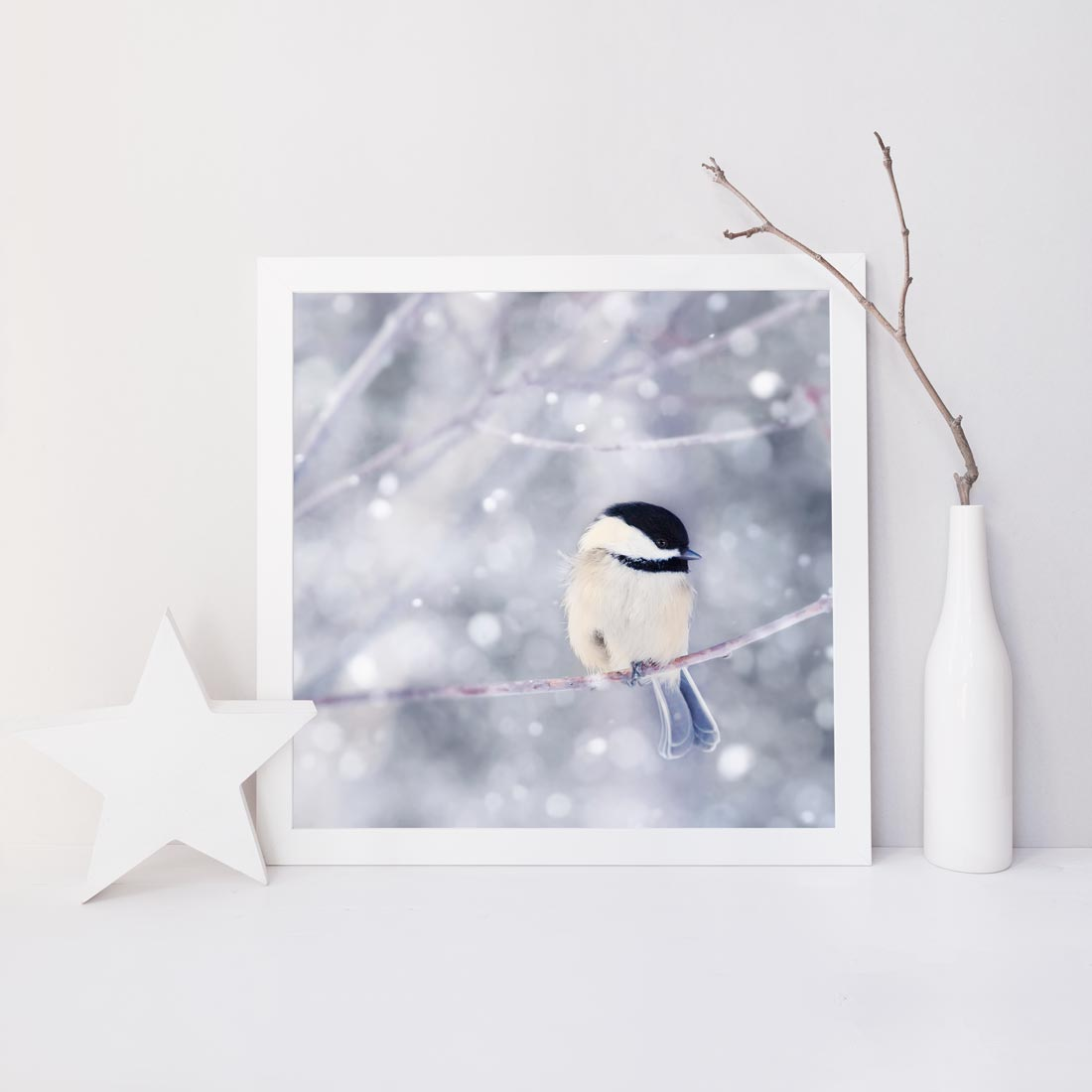 "Fine Art Bird Photography Print ""Chickadee in Snow No. 10"""
