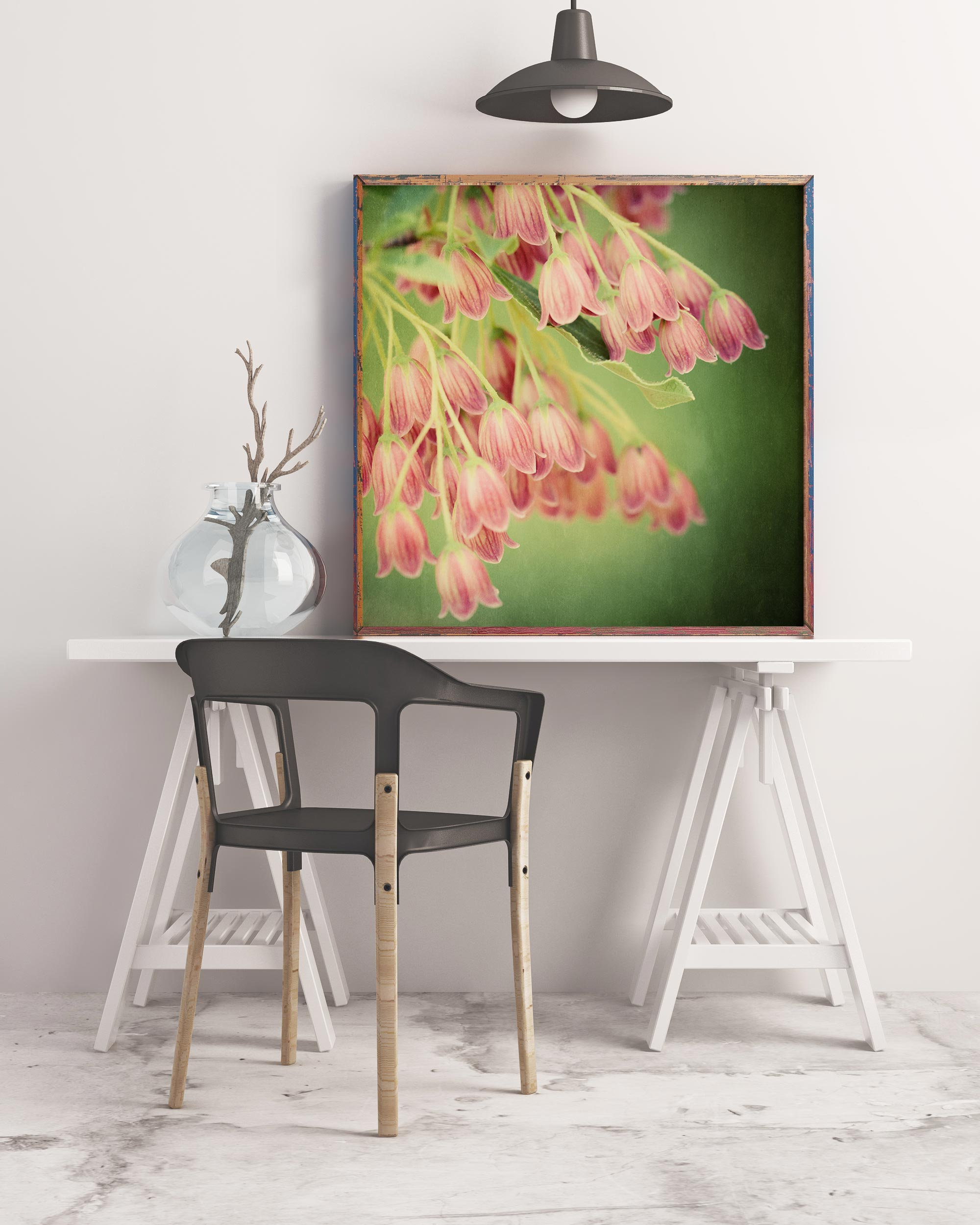 Sample framed mockup of enkianthus flower art print