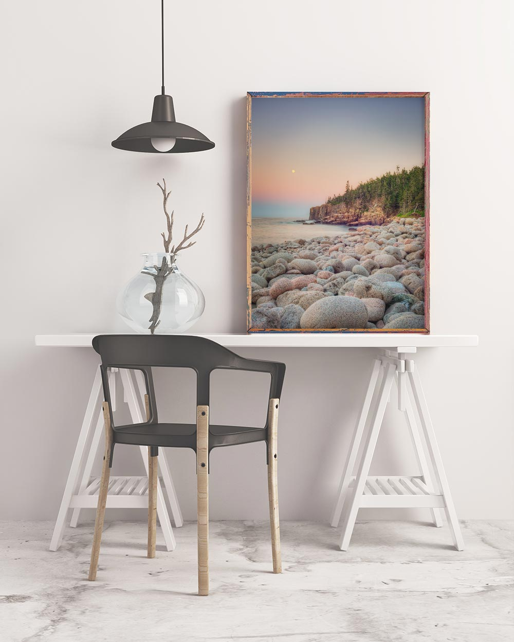 Sample framed landscape art print of round rocks on a Maine beach