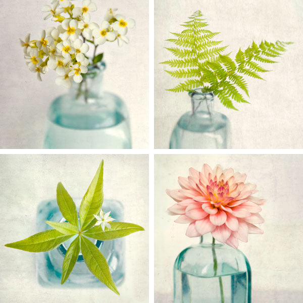 Floral Wall Art Set of 4 Prints, Still Lifes