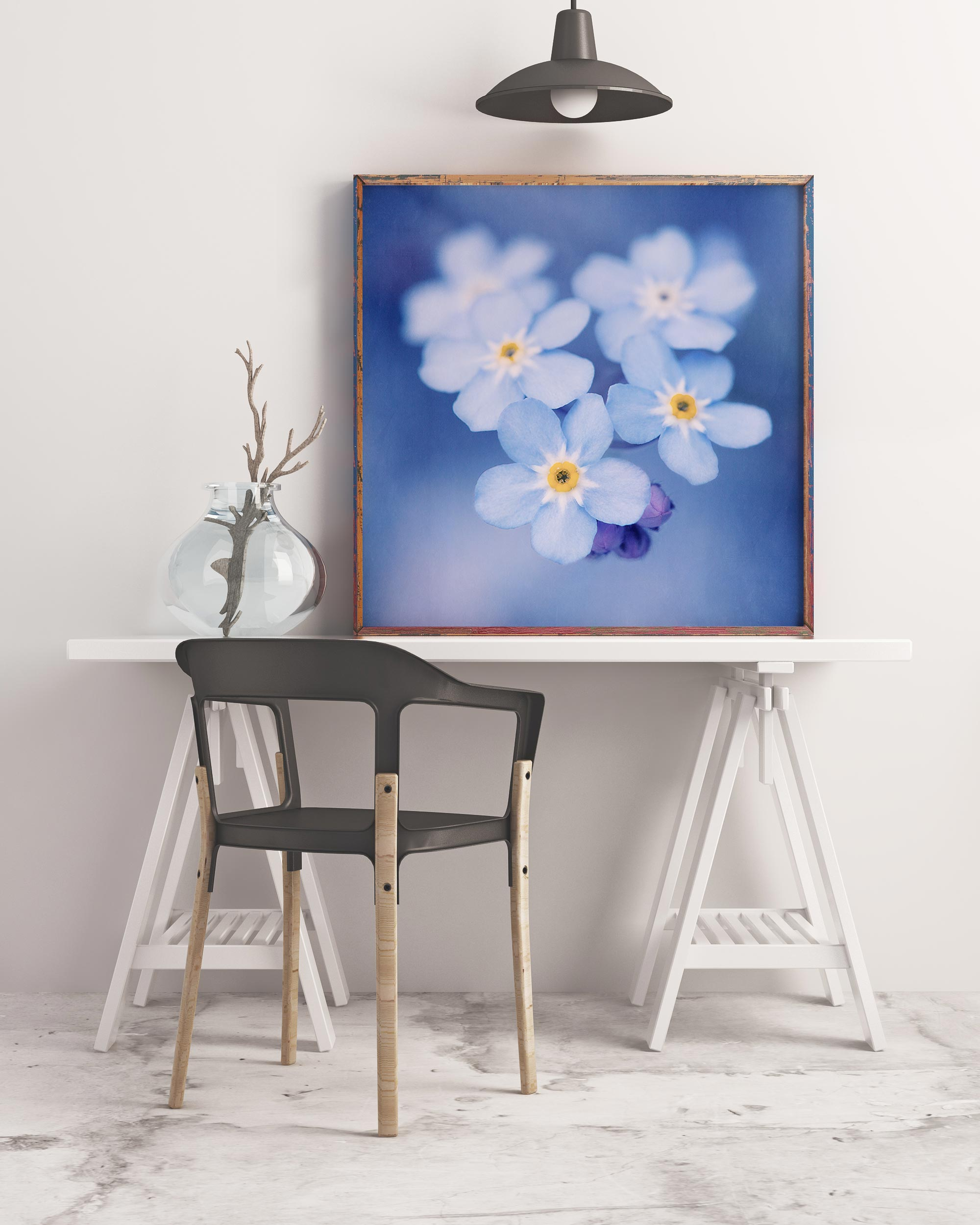 Sample framed mockup of blue forget-me-not flowers art print