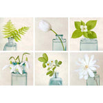 Gallery Wall Art Set of Green and White Flower Prints