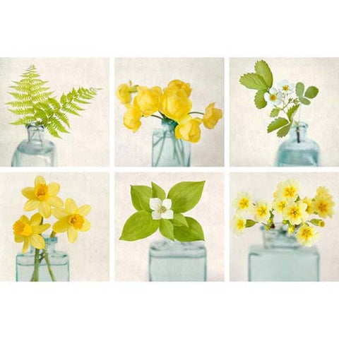 Yellow Flower Wall Art set of 6 prints, gallery wall art set, yellow and green flowers