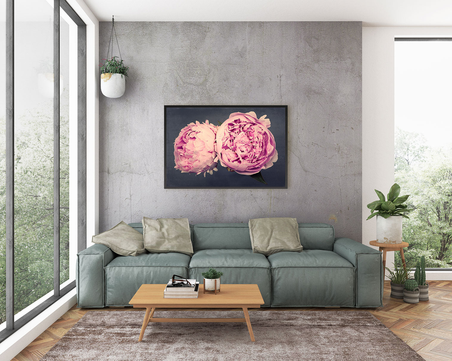 Living Room Wall Art Peony Print
