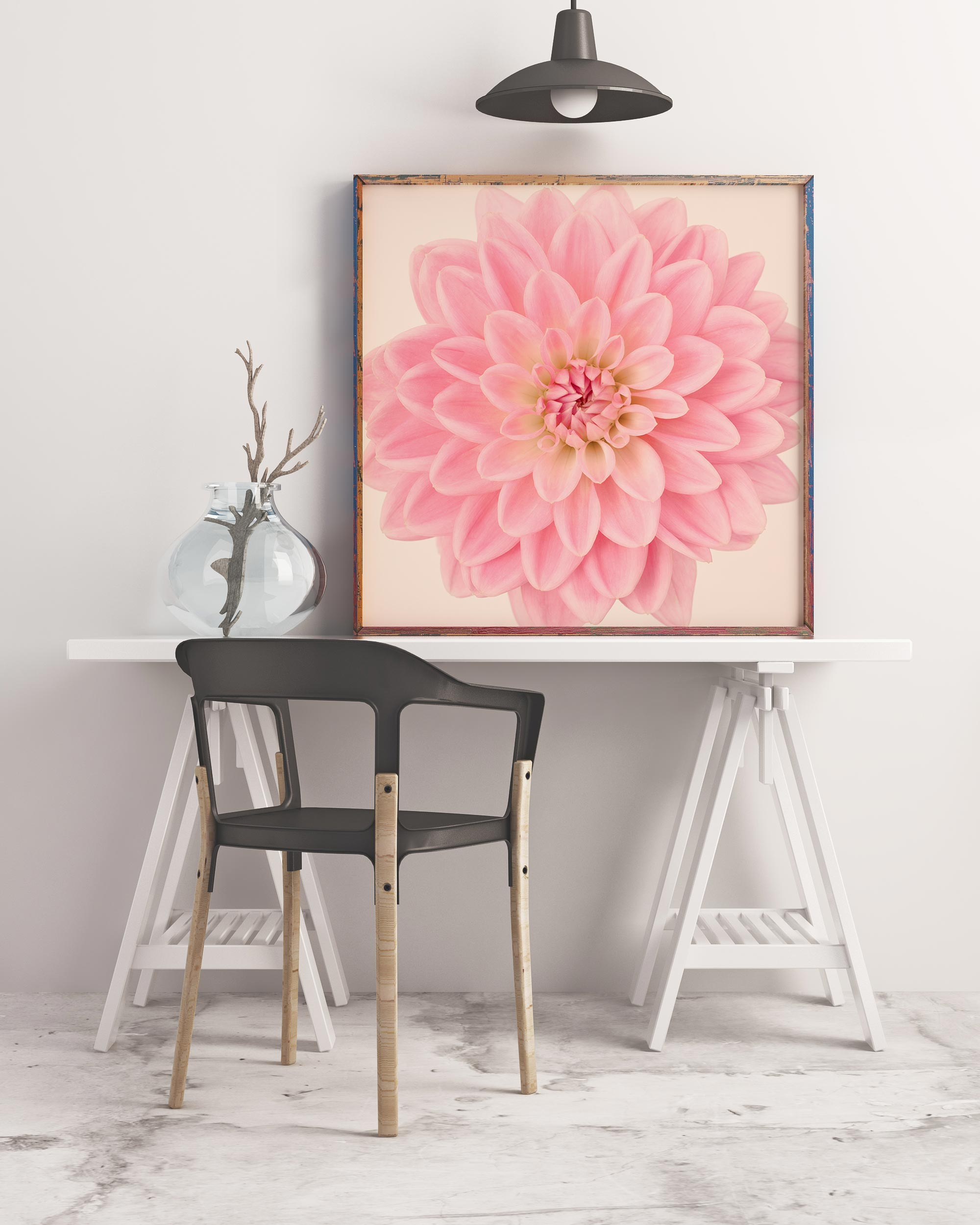 Sample framed image of pink dahlia art print