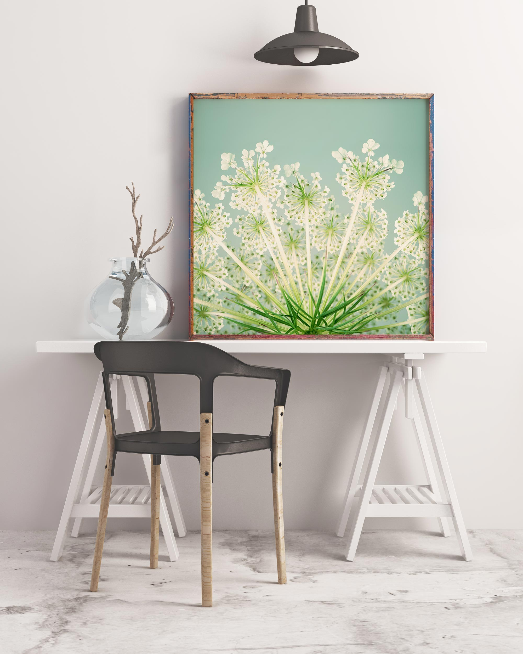 Sample framed image of queen anne's lace flower photo