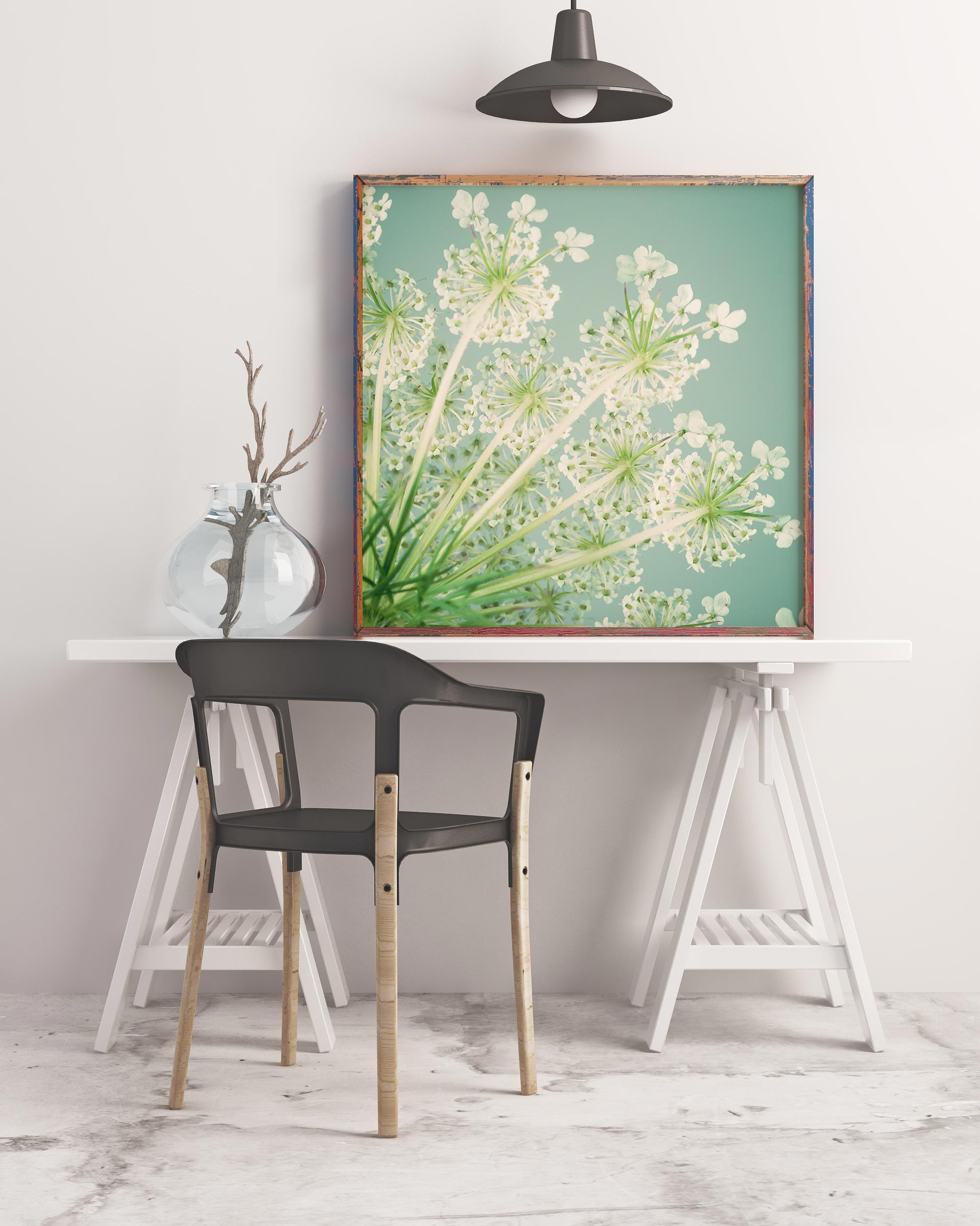Sample framed image of queen anne's lace flower print