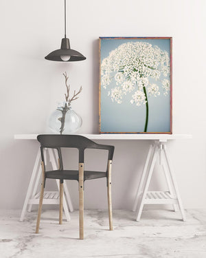 Sample framed image of blue queen anne's lace art print