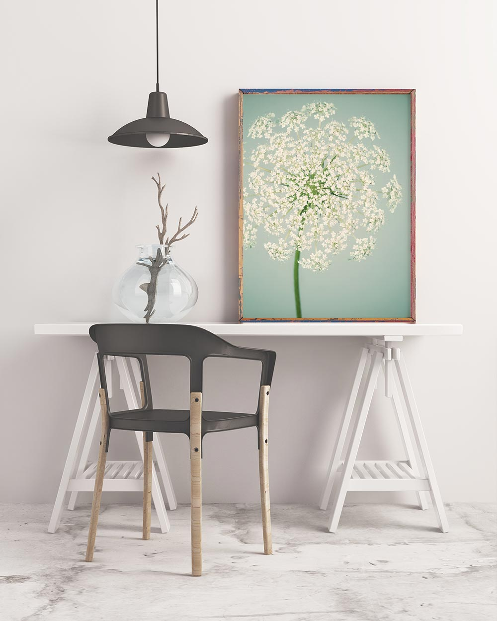 Sample framed image of queen anne's lace art print