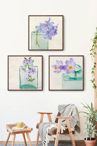 set of 3 purple floral still life prints
