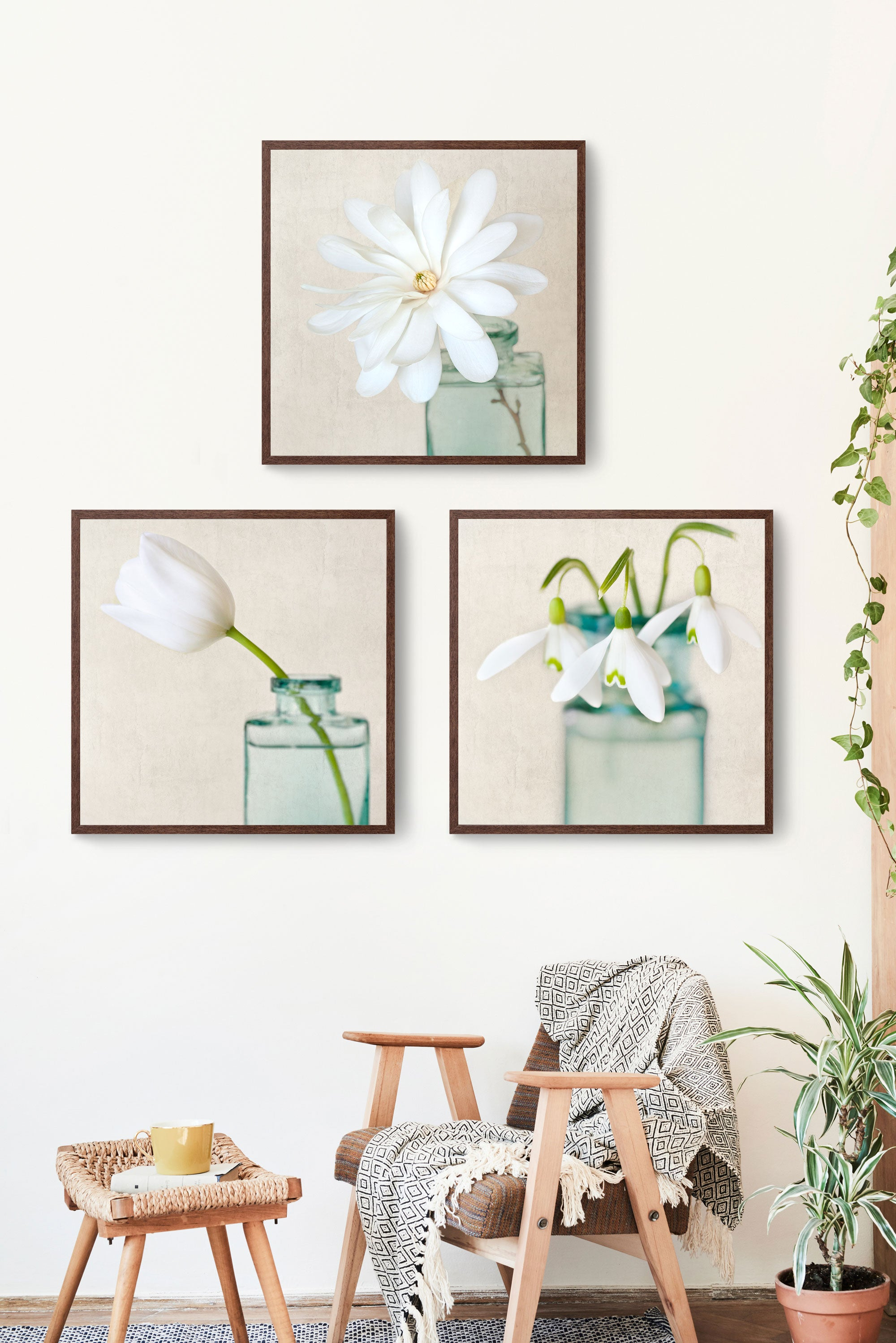 set of 3 white floral photography prints