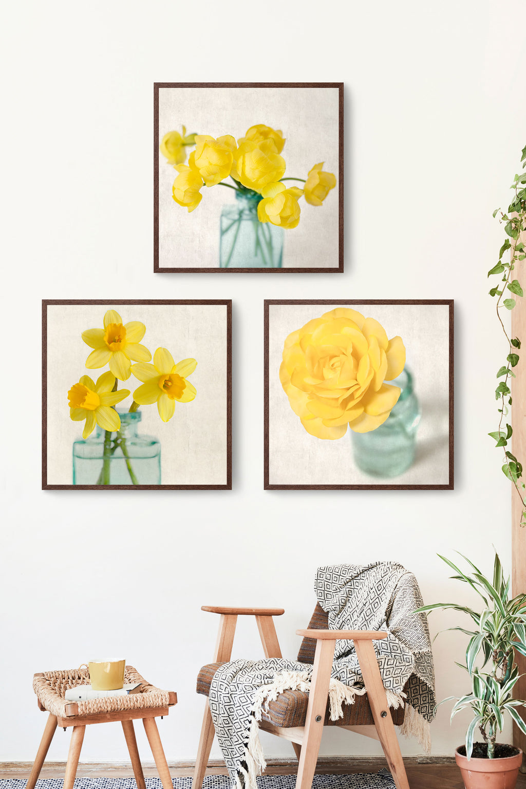 set of 3 yellow floral still life prints