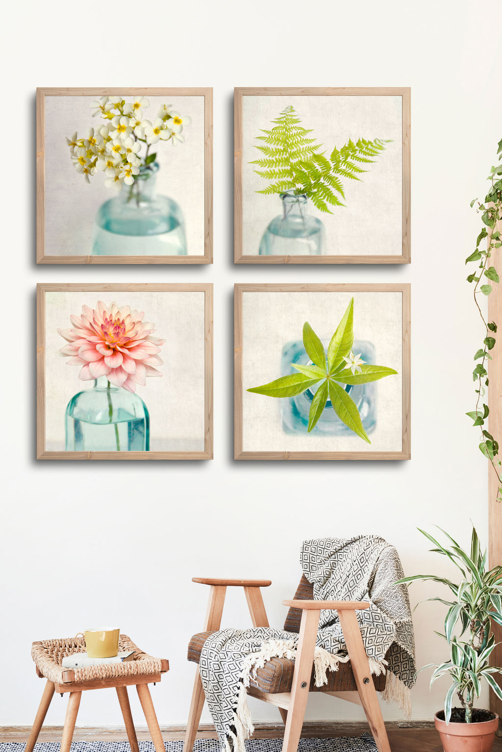 "Set of 4 Prints, Floral Wall Art Set ""Floral Still Lifes"""