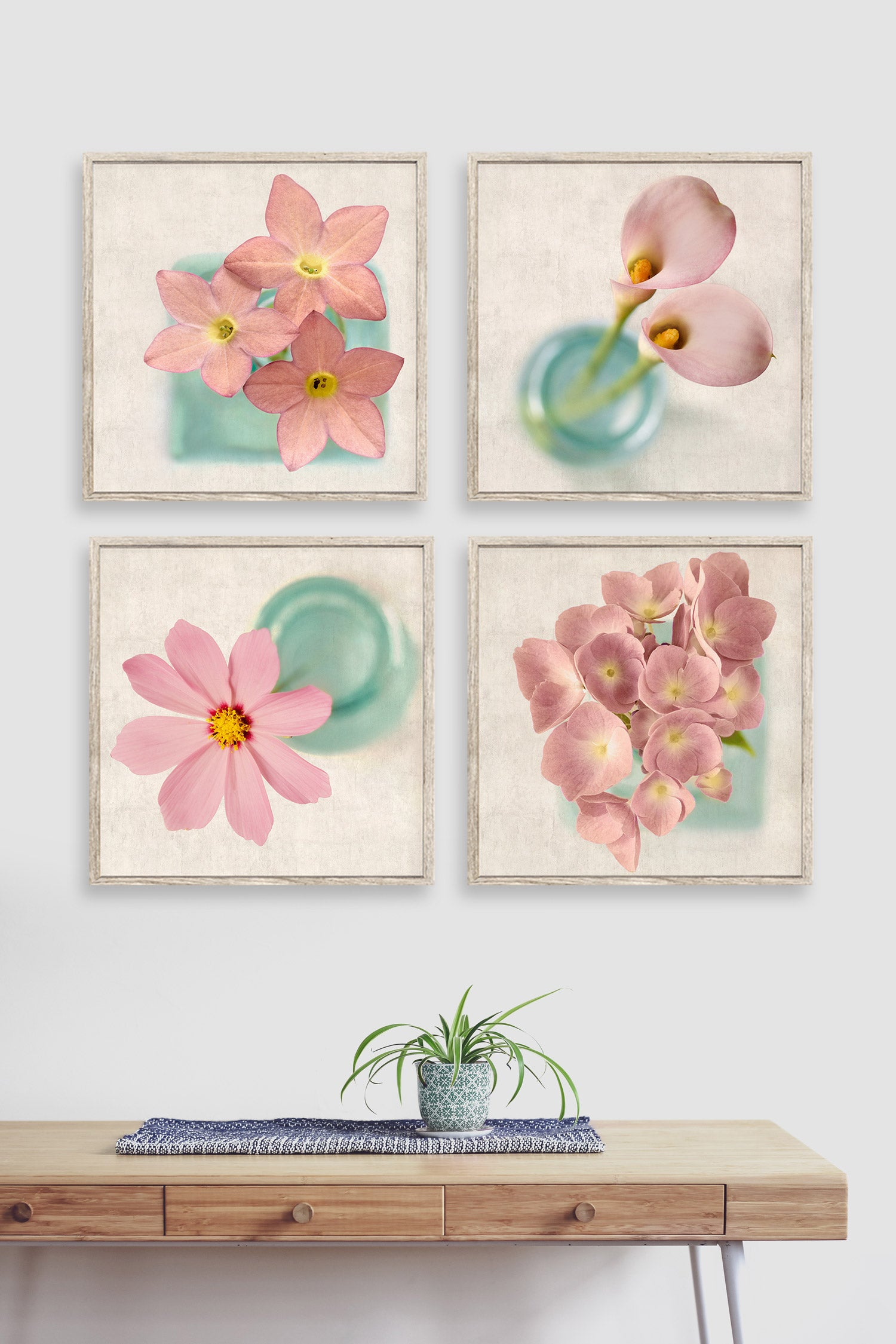 Set of 4 prints of pink florals