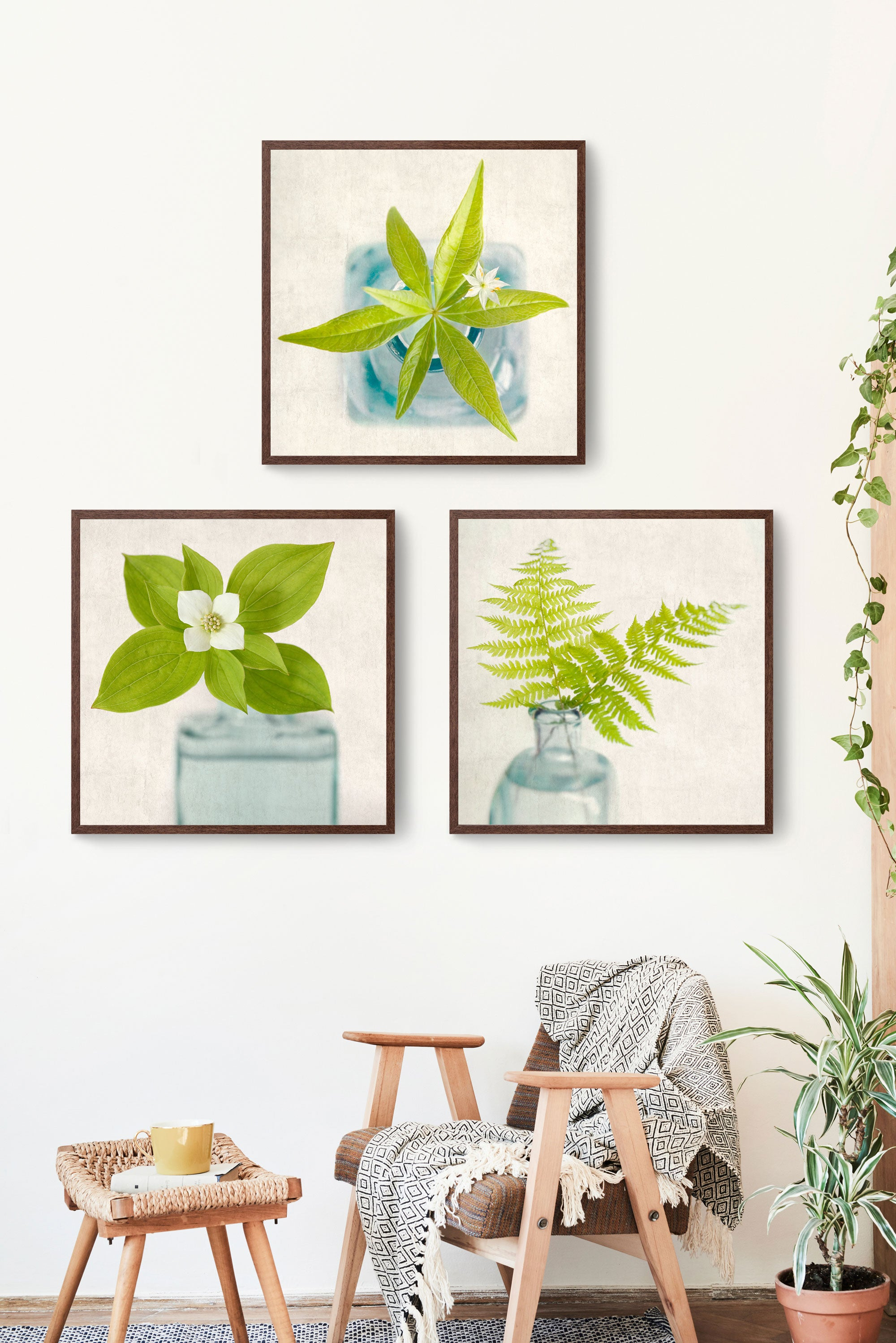 set of 3 prints of green flowers and ferns
