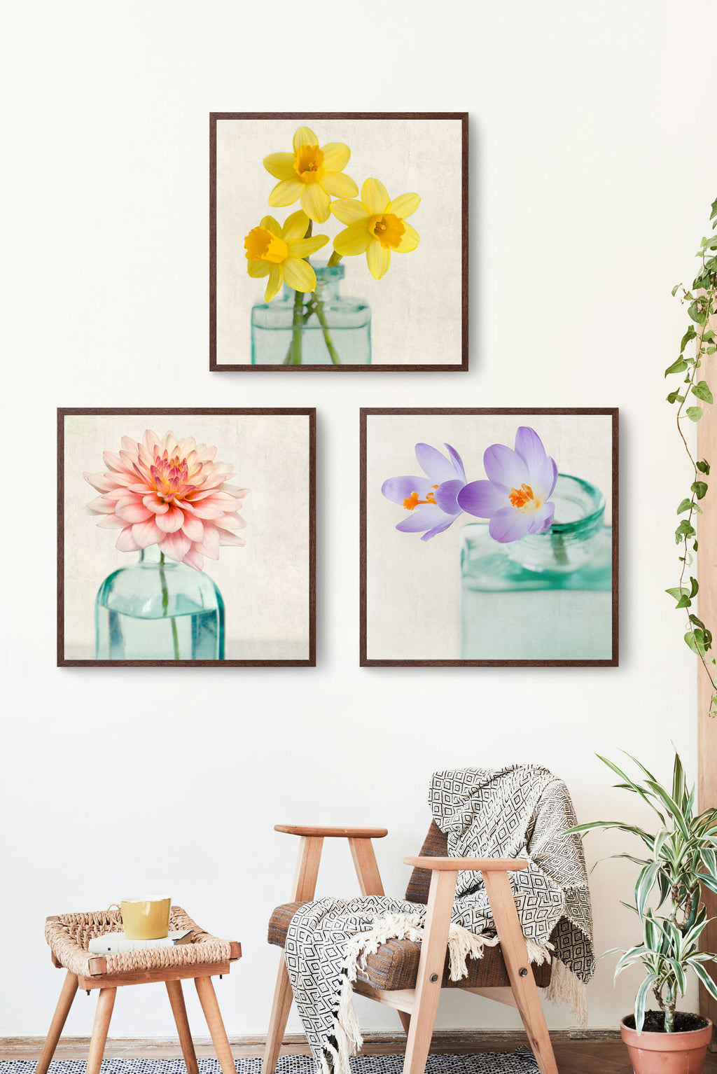 "Set of 3 Prints, Floral Wall Art Set ""Spring Flowers"""