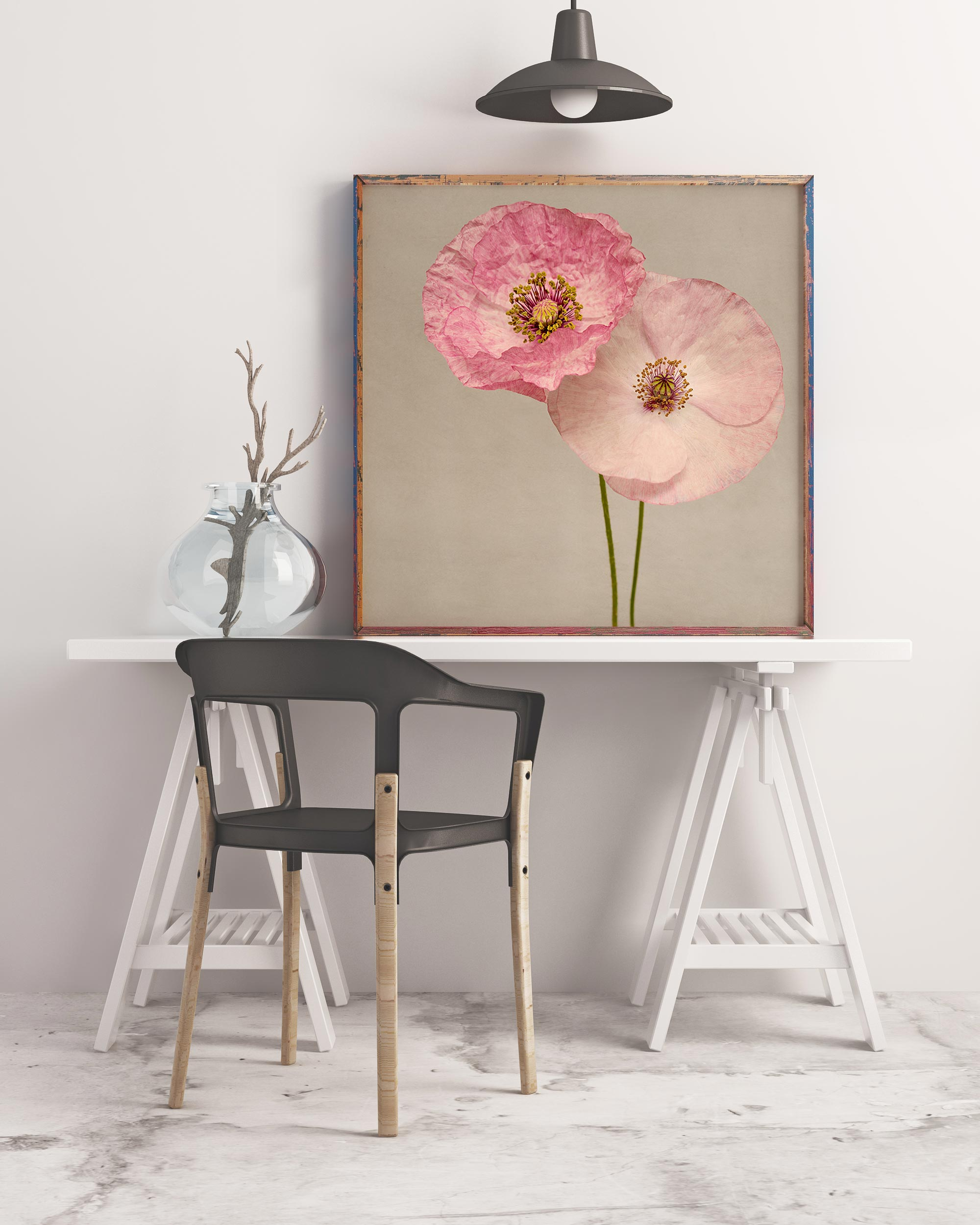 Sample framed image of pink shirley poppies art print