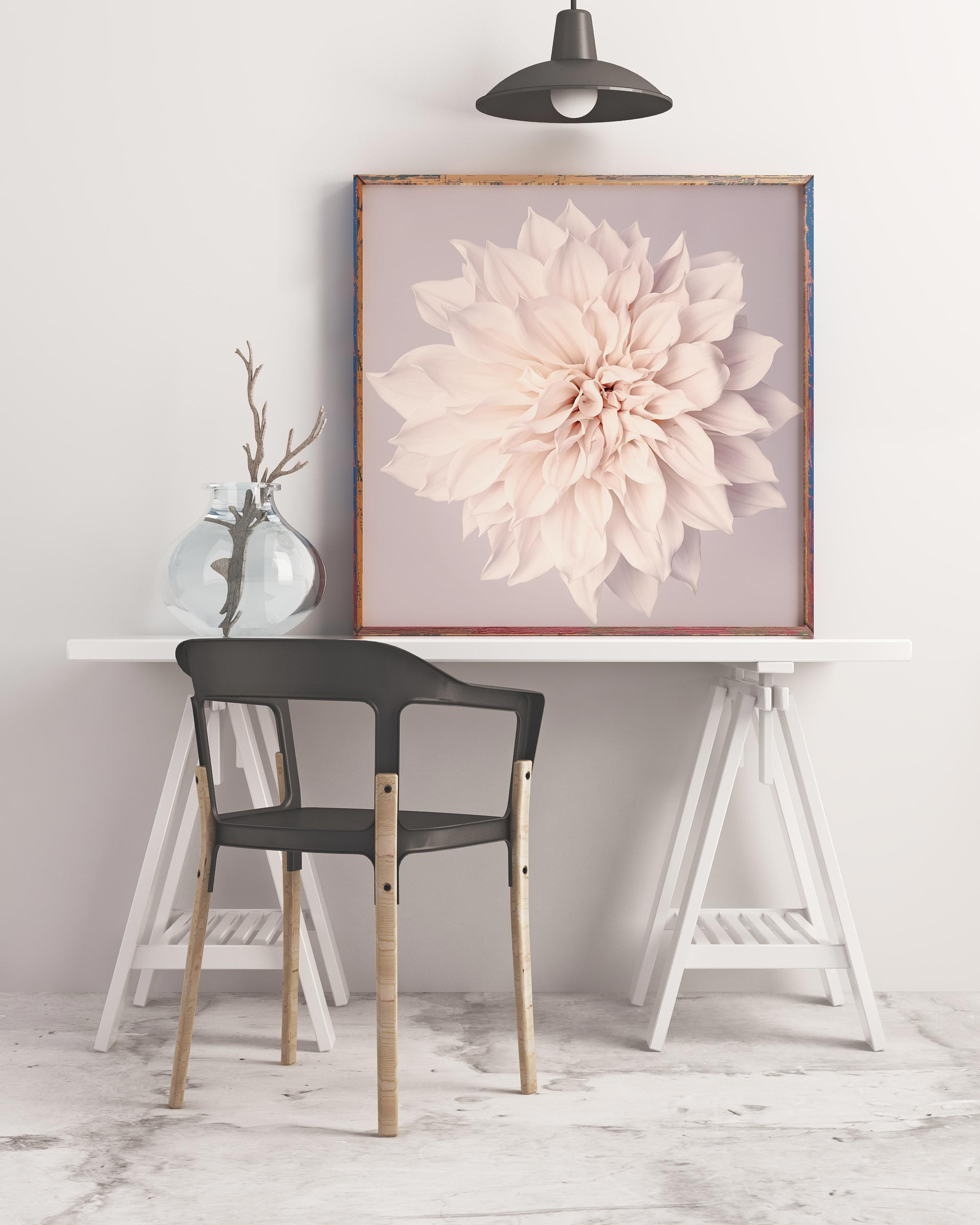 Sample framed image of white dahlia print