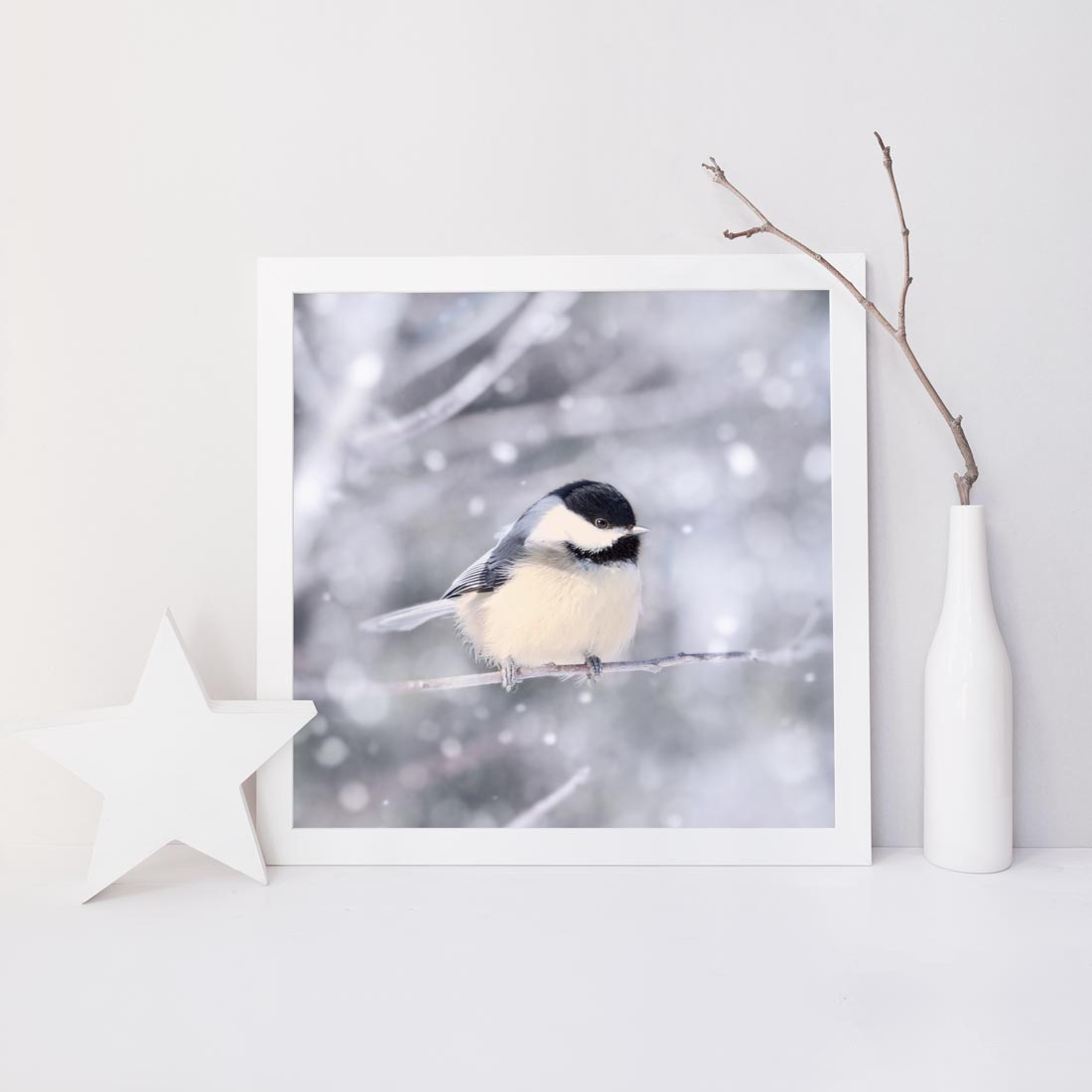 Chickadee in Snow No. 11
