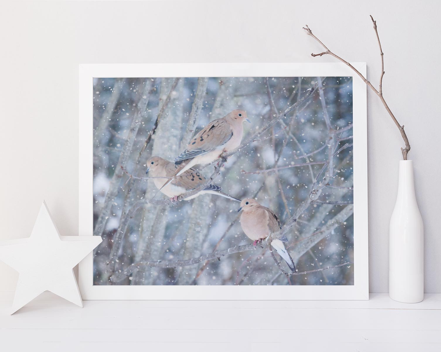 Mourning Doves in Snow No. 6