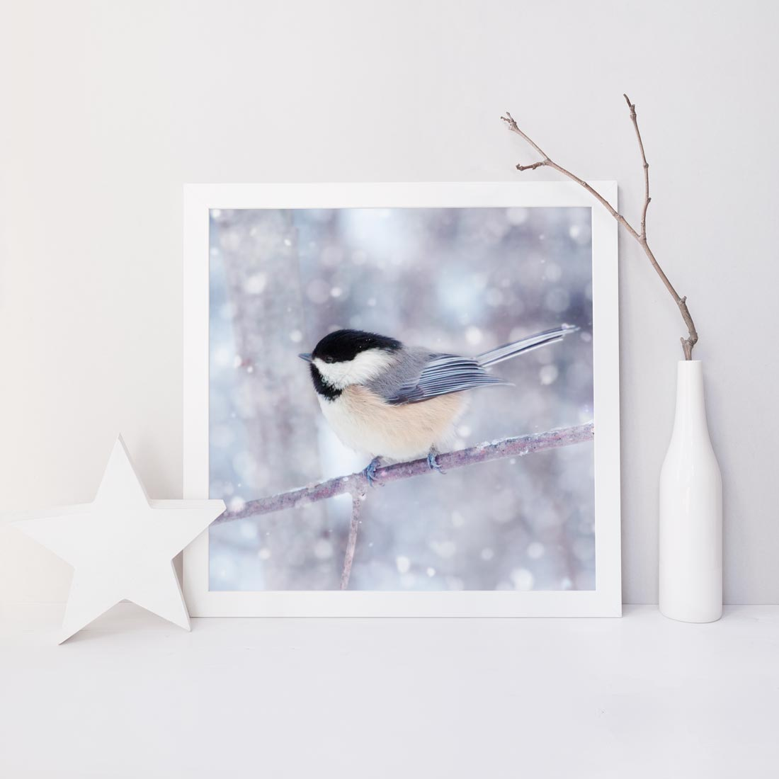 Chickadee in Snow No. 12