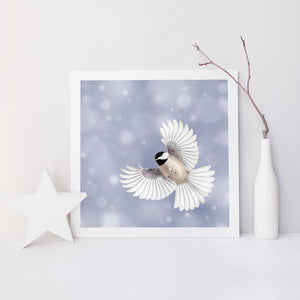 "Fine Art Bird Photography Print ""Chickadee in Snow No. 6"""