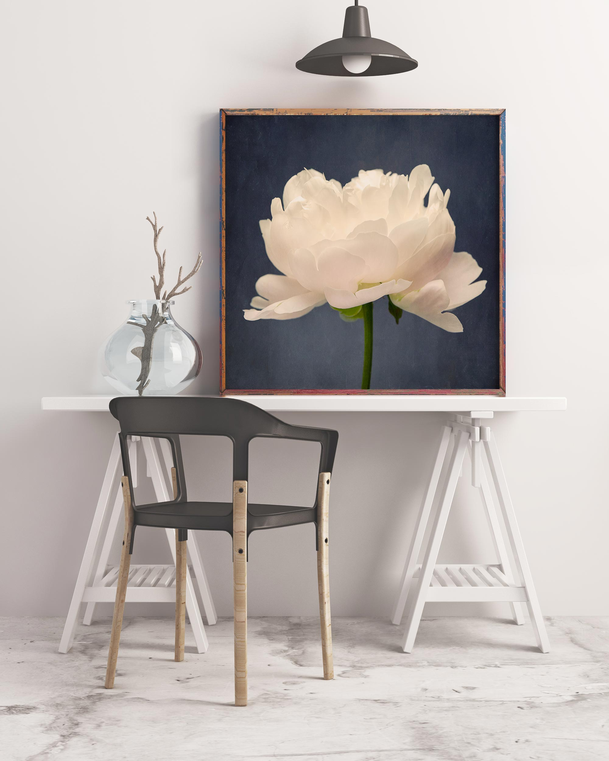 Sample framed image of white peony photograph