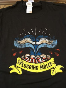 FLOGGING MOLLY- Whale Fin Distressed T-shirt ~Never Worn~ SMALL