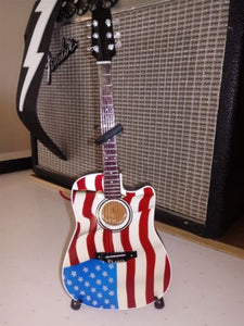 TOBY KEITH- Signature Acoustic USA Flag 1:4 Scale Replica Guitar ~Axe Heaven