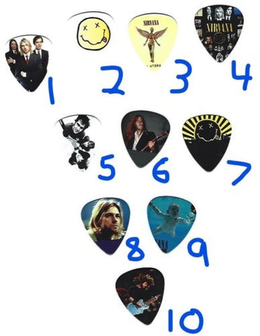 NIRVANA Graphic Guitar Pick ~Your Choice of Many~ Buy 3, Get 3rd FREE