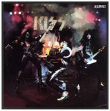 KISS - Alive! Album Cover Framed Glass Picture 12.5 x 12.5 x 1.5 ~New~