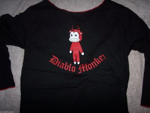 MONKEY LOVE -Diablo Mokey -Long Sleeve Stitched Neck T-Shirt ~NEVER WORN~ LARGE