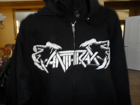ANTHRAX -2011 Worship Metal Full Zip Up Black Hoodie w/ Drawstring ~NEW~ M